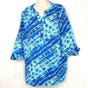 Catherines Tunic Top Linen Cotton Size 1X 18W 20W